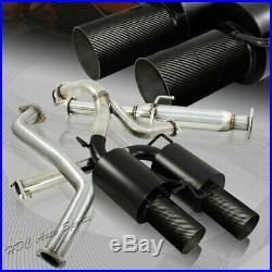 For Hyundai Tiburon GT SE 4 Carbon Fiber Dual Tip Black Catback Exhaust Muffler