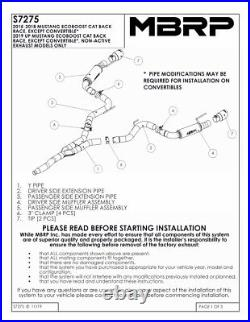 Mbrp 2015-2021 Ford Mustang 2.3l Turbo Ecoboost Catback Exhaust System Race Al
