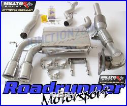 Milltek Audi S3 8P Sportback Exhaust Turbo Back Non-Res System Inc RACE Cat