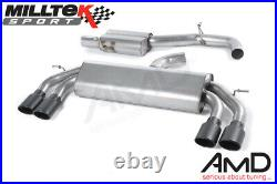 Milltek Audi S3 Cat Back Exhaust Non Valved Race System Resonated 8V SSXAU525