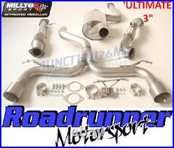 Milltek Focus ST225 Exhaust 3 Ultimate Turbo Back Inc RACE Cat Titanium Tails