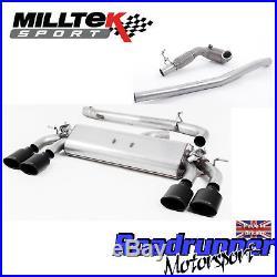 Milltek Golf R MK7.5 Turbo Back Exhaust 3 VALVED Non Res & RACE CAT Black Ovals