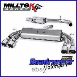 Milltek SSXVW412 Golf R MK7 Cat Back Exhaust Race 3 Non Valved Res Polish Round