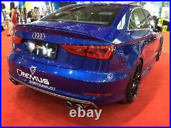 Remus Axle Back Exhaust Audi S3 Quattro 8V Facelift TFSI Carbon Street Race Tips