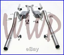Stainless Steel Dual Split Header Back Exhaust Muffler System 68-70 Mopar B Body