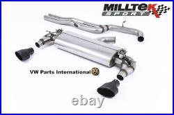 VW Golf MK7.5 R Milltek Non Valved Race Cat Back Exhaust Non Res Carbon Jet-100