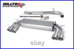 VW Golf MK7 R Milltek Race Non Valved Non Res Cat Back Exhaust Titanium GT100